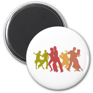 Colorful Tango Dancers 2 Inch Round Magnet
