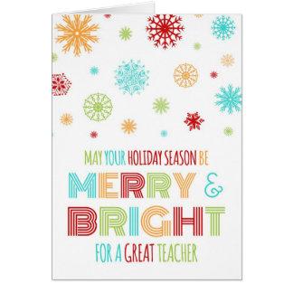 Colorful Teacher Merry & Bright Christmas Card