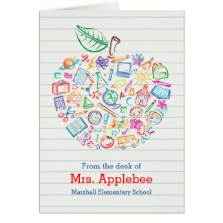Colorful Teachers Apple Note Card Vertical