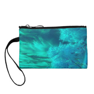 Colorful Teal Forest Key Coin Clutch Change Purses