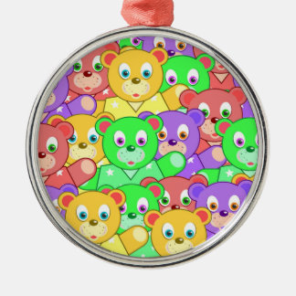 COLORFUL TEDDY BEARS METAL ORNAMENT