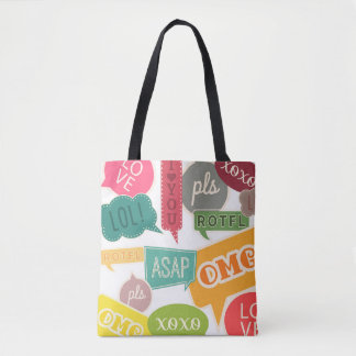 Colorful Teen Slang Text Bubble Tote Bag
