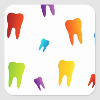 Colorful teeth square sticker