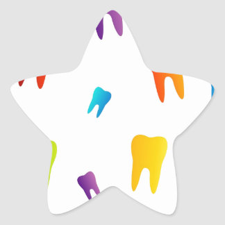 Colorful teeth star sticker