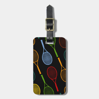 colorful tennis rackets pattern luggage tag
