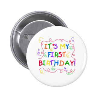 Colorful Text It's My First Birthday 2 Inch Round Button