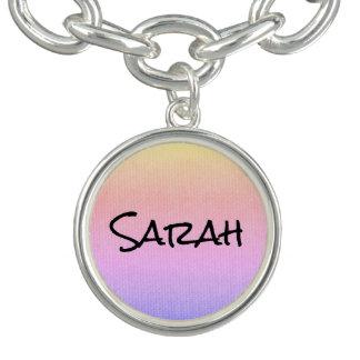 Colorful Texture Custom Name Charm Bracelets