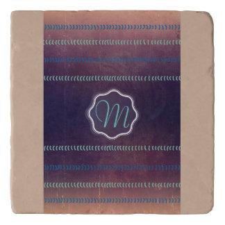 Colorful Textured Monogram Lines Pattern Trivet