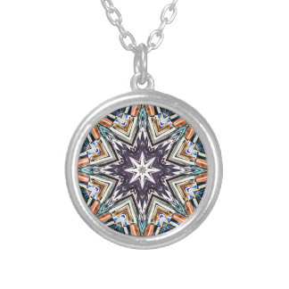 Colorful Textured Star Silver Plated Necklace