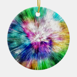 Colorful Tie Dye Abstract Round Ceramic Ornament