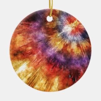 Colorful Tie Dye Rings Ceramic Ornament