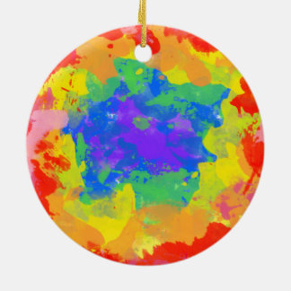 Colorful tie dye watercolor gift round ceramic ornament