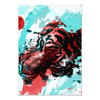 "Colorful Tiger Animal 3.5"" X 5"" Invitation Card"