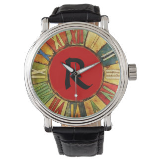COLORFUL TIME RED BLACK MONOGRAM WATCH