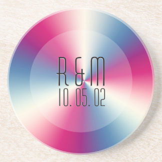 Colorful Tint Stainless Steel Look Monogram Coaster
