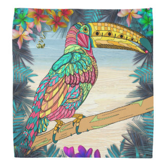 Colorful Toucan bird tropical teal mauve beach Do-rags