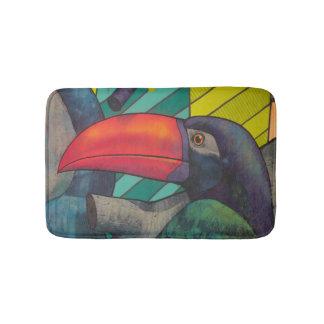 Colorful Toucan Graffiti Bath Mat