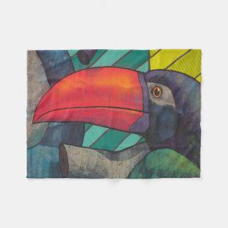 Colorful Toucan Graffiti Fleece Blanket