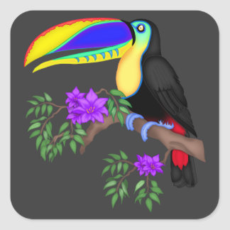 Colorful Toucan With Flowers Square Sticker