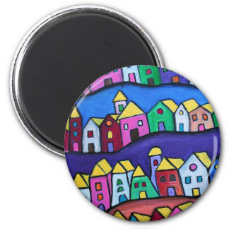 COLORFUL TOWN by Prisarts 2 Inch Round Magnet