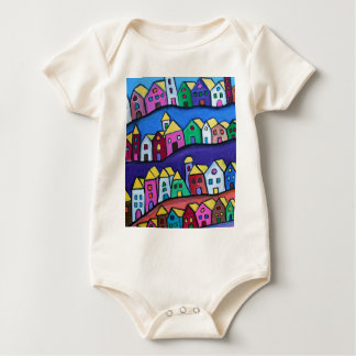 COLORFUL TOWN by Prisarts Baby Bodysuit