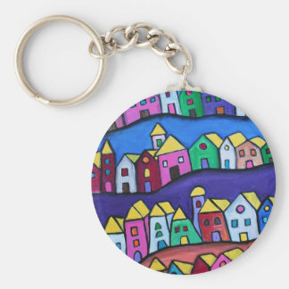 COLORFUL TOWN by Prisarts Basic Round Button Keychain