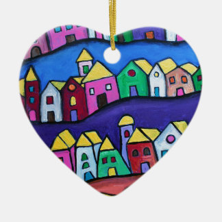 COLORFUL TOWN by Prisarts Ceramic Heart Ornament