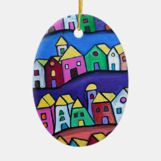 COLORFUL TOWN by Prisarts Ceramic Oval Ornament