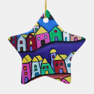 COLORFUL TOWN by Prisarts Ceramic Star Ornament