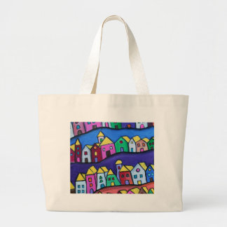 COLORFUL TOWN by Prisarts Large Tote Bag