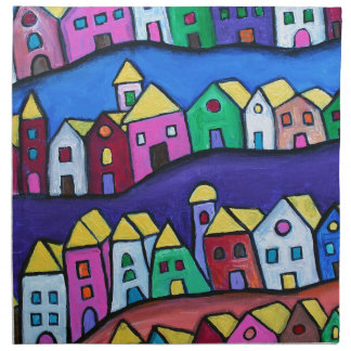 COLORFUL TOWN by Prisarts Napkin