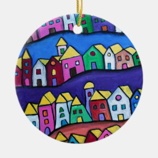 COLORFUL TOWN by Prisarts Round Ceramic Ornament