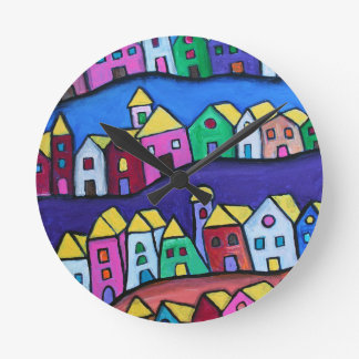 COLORFUL TOWN by Prisarts Round Clock