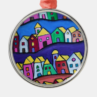 COLORFUL TOWN by Prisarts Silver-Colored Round Ornament