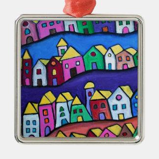 COLORFUL TOWN by Prisarts Silver-Colored Square Ornament