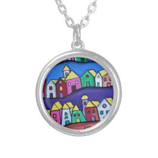 COLORFUL TOWN by Prisarts Silver Plated Necklace