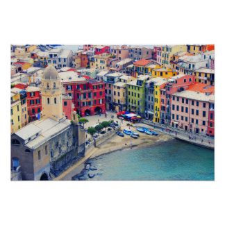 Colorful Town of Vernazza Italy Poster