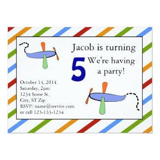 Colorful Toy Airplane for Little Boys 5.5x7.5 Paper Invitation Card