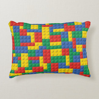 Colorful Toy Building Blocks Pattern Pillow