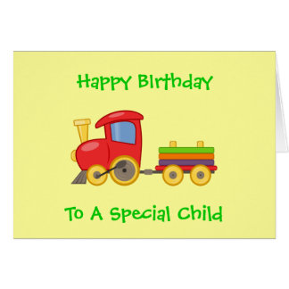 Colorful Toy Train Children's Happy Birthday Card