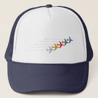 colorful travel airplanes trucker hat