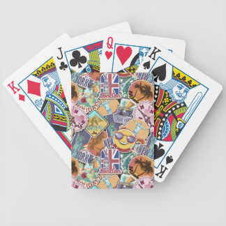 Colorful Travel Sticker Pattern Bicycle Playing Cards