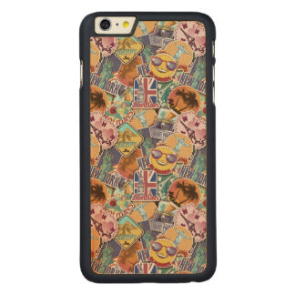 Colorful Travel Sticker Pattern Carved Maple iPhone 6 Plus Case