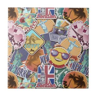 Colorful Travel Sticker Pattern Ceramic Tiles
