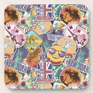 Colorful Travel Sticker Pattern Coaster