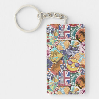 Colorful Travel Sticker Pattern Double-Sided Rectangular Acrylic Keychain