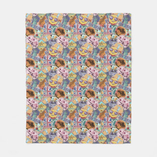 Colorful Travel Sticker Pattern Fleece Blanket
