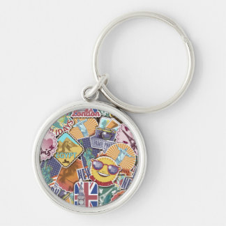 Colorful Travel Sticker Pattern Silver-Colored Round Keychain