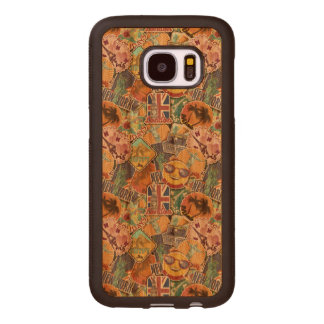 Colorful Travel Sticker Pattern Wood Samsung Galaxy S7 Case