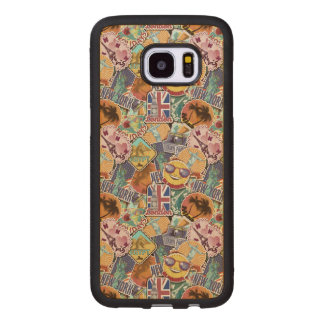 Colorful Travel Sticker Pattern Wood Samsung Galaxy S7 Edge Case